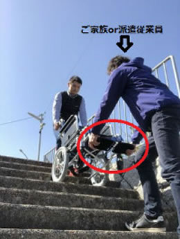 階段昇降は必ず2人介助です